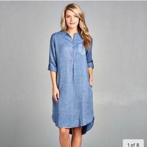 🌸 Denim Button Front Tunic Dress + Pockets